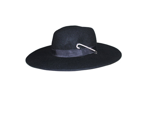 Black Wide Brim Felt Hat - The Broadway
