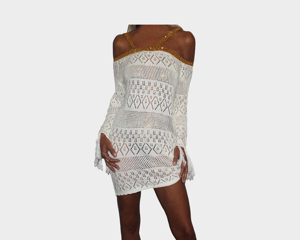 c5a5eacef7a90 Off-White Gold Sequins Strap Apres Beach Cover-up - The Tuscany ...