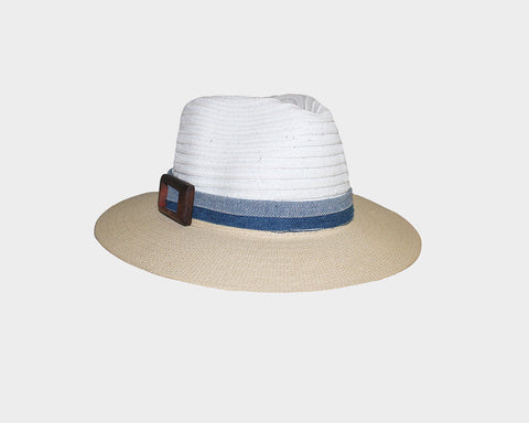 1. Beige & White Fedora Style Sun Hat - The Milan
