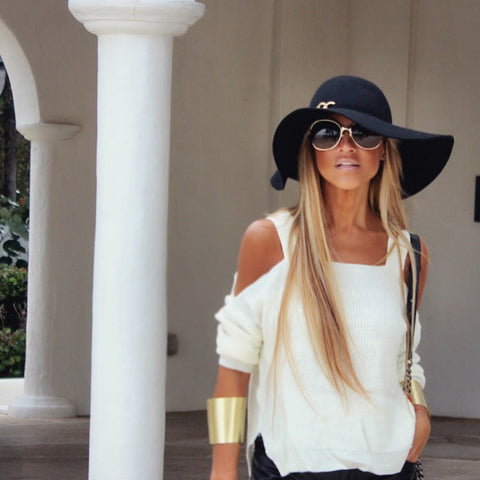 Faux-Wool Black Floppy Style Hat - The Monroe