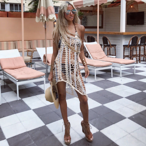 One Shoulder Sand Taupe & Silver Apres-Beach Cover-up - The Monaco