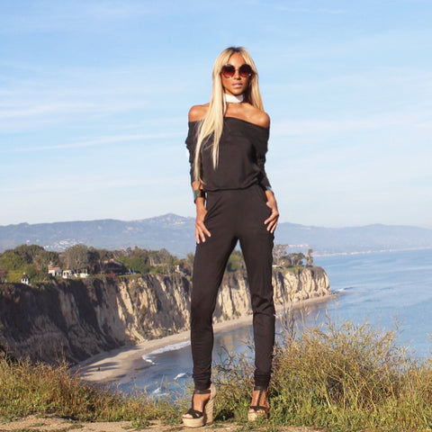 Black off shoulder Jumpsuit - The Malibu