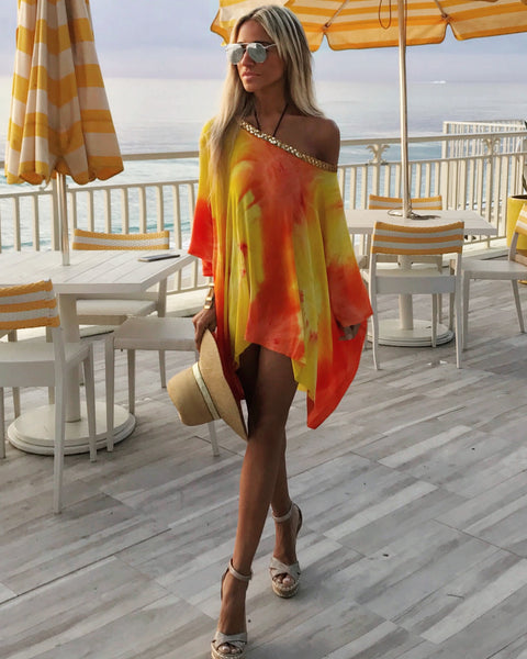 b67f9f1b01 ... Golden Sun One Shoulder Apres-Beach Cover-up Dress- The Athens