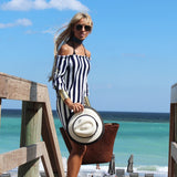 Dark Navy & White Stripe Off Shoulder Dress - The Ibiza