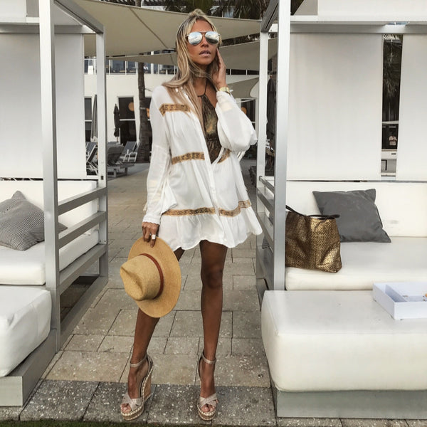 6bbd305366b White & Gold Lace Beach Cover-up - The St. Tropez – Regine Chevallier