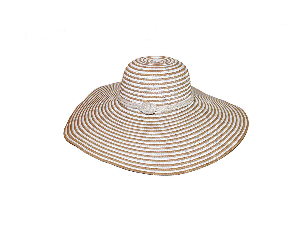 Tan and White Stripe Sun Hat - The St. Tropez