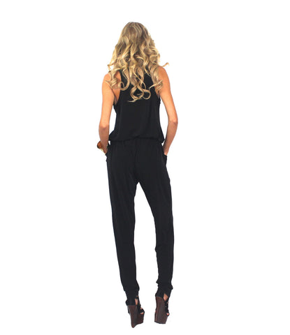 Black Zipper Front Jumpsuit - The Fifth Avenue