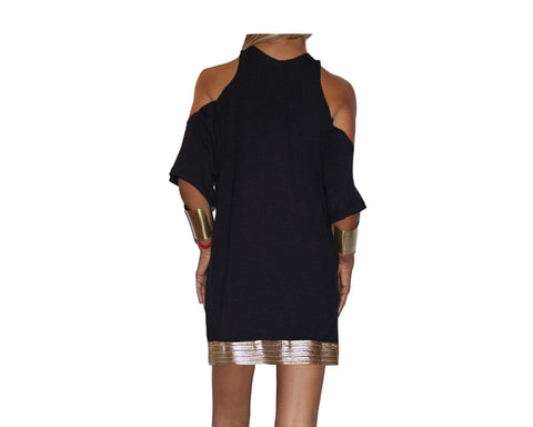 Black Cold Shoulder Short Dress - The St. Barth