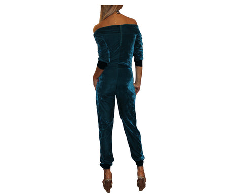Turquoise Suede & Black Wrist and ankle Jumpsuit - The Park Avenue