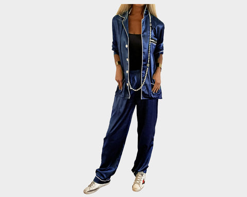 Deep Sea Blue Organic silk loungewear - The Palm Springs