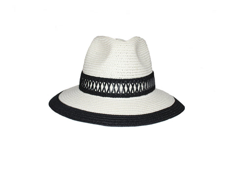 Off White & Black Fedora Style Hat - The Globetrotter