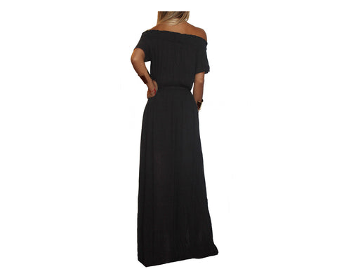 Black Off the Shoulder Dress - The Milan