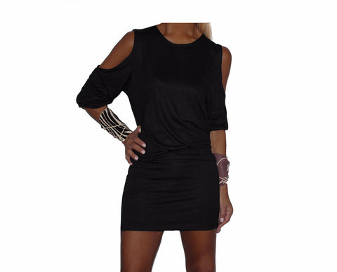 Black Cold Shoulder Dress - The Avenue Montaigne
