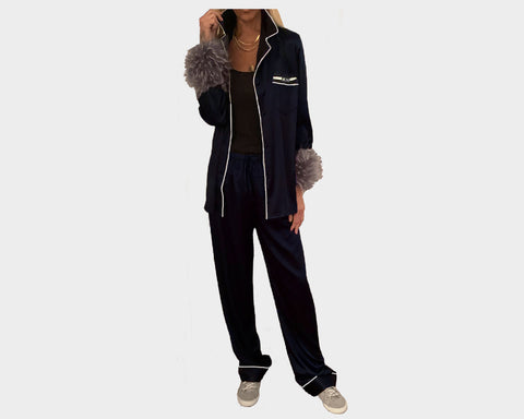 Black Organic silk Faux-Fur loungewear - The Palm Springs