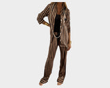 Stripe Toffee & Steel Black organic silk loungewear - The Bel Air