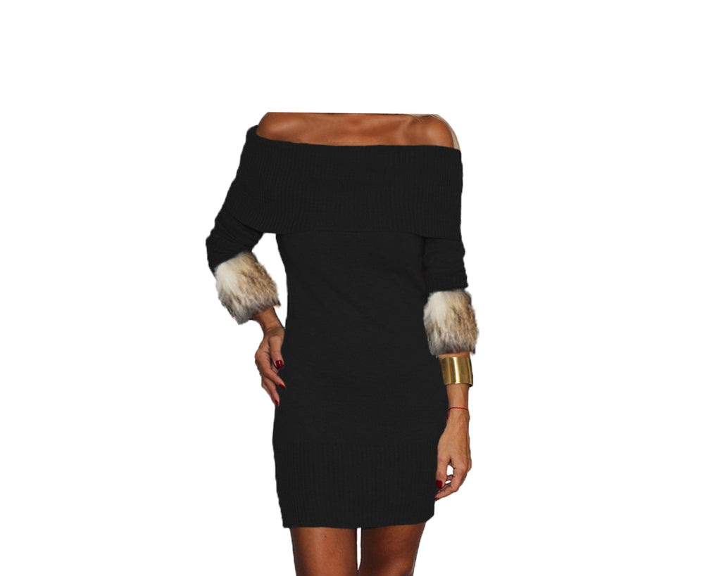 Black and Sunset Taupe Knit Off the Shoulder Dress - The St. Moritz