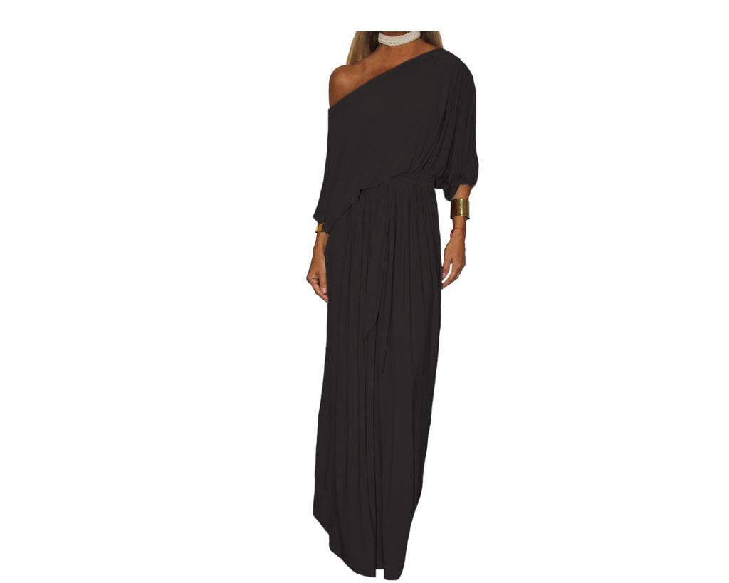 Black Long Off Shoulder dress - The Milano