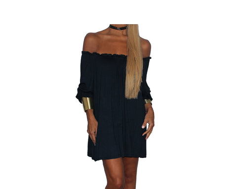 Black Off Shoulder Dress - The Ibiza