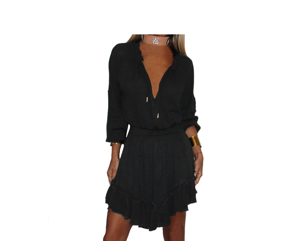 Black flowy short dress - The Capri