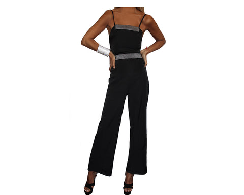 Black Double Spaghetti Strap Retro Tuxedo Jumpsuit - The Monte Carlo