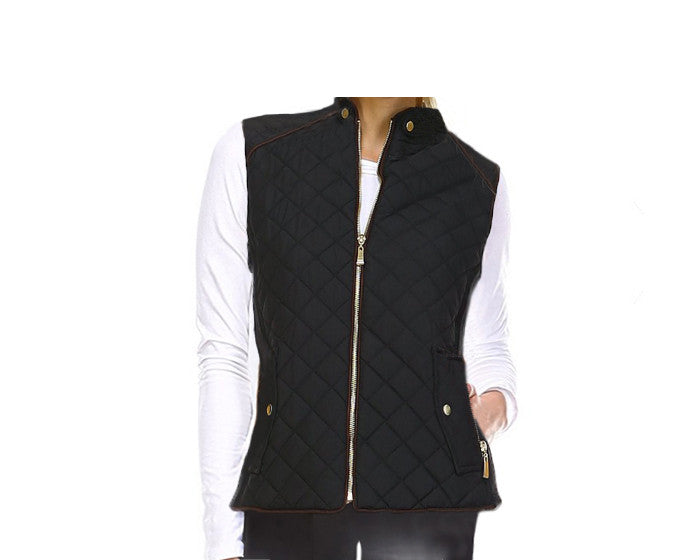 Black Quilted Vest - The Aspen