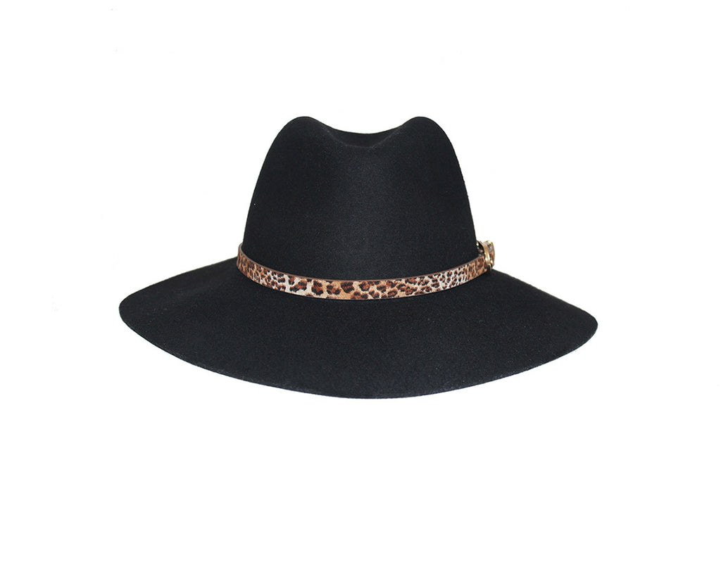 100% Black Wool Panama Style Hat - The London