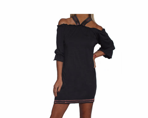 Cold Shoulder Baltic Gray Short Dress - The St. Barth