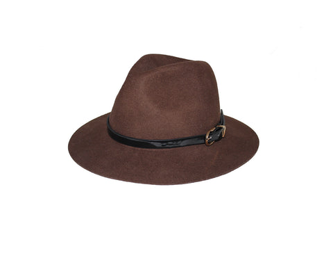 Dark Umber Wool Fedora Hat - The Oxford Street