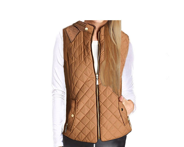Camel Color Quilted Vest - The Aspen
