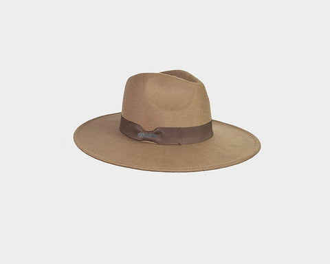 Wool Beige & white 100% felt Panama Style Hat - The Park Avenue