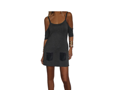 Charcoal Gray Open Shoulder Dress/Tunic - The Cannes