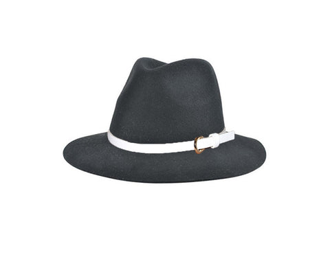 Gray 100% Wool Fedora Style Hat - The London