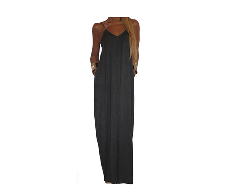 Dark Gray Maxi Dress - The Santorini