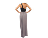 Black and dark taupe long dress - The Cannes