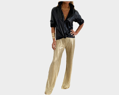 Metallic Pleated Gold Pants - The Palm Springs