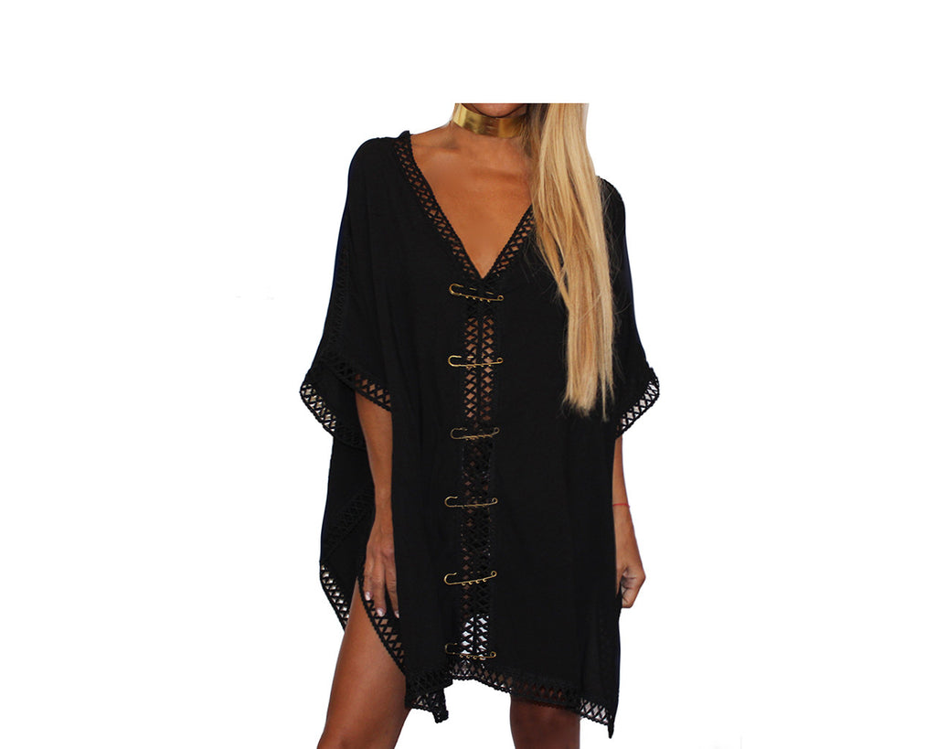 Cover-up Black Beach Tunic - The Portofino