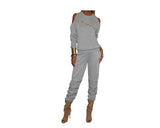 Whispering Gray Cold Shoulder Jog Suit - The Park Avenue