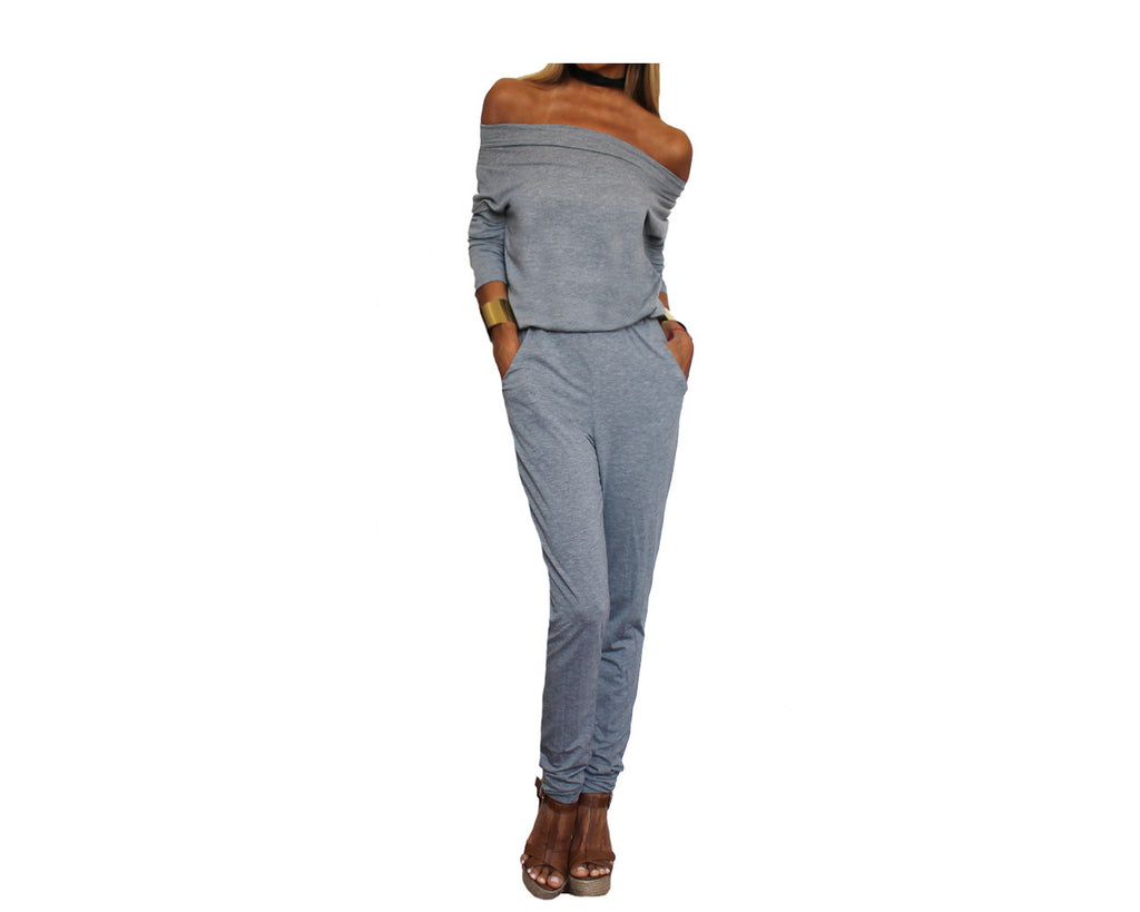 Gray off shoulder Jumpsuit - The Malibu