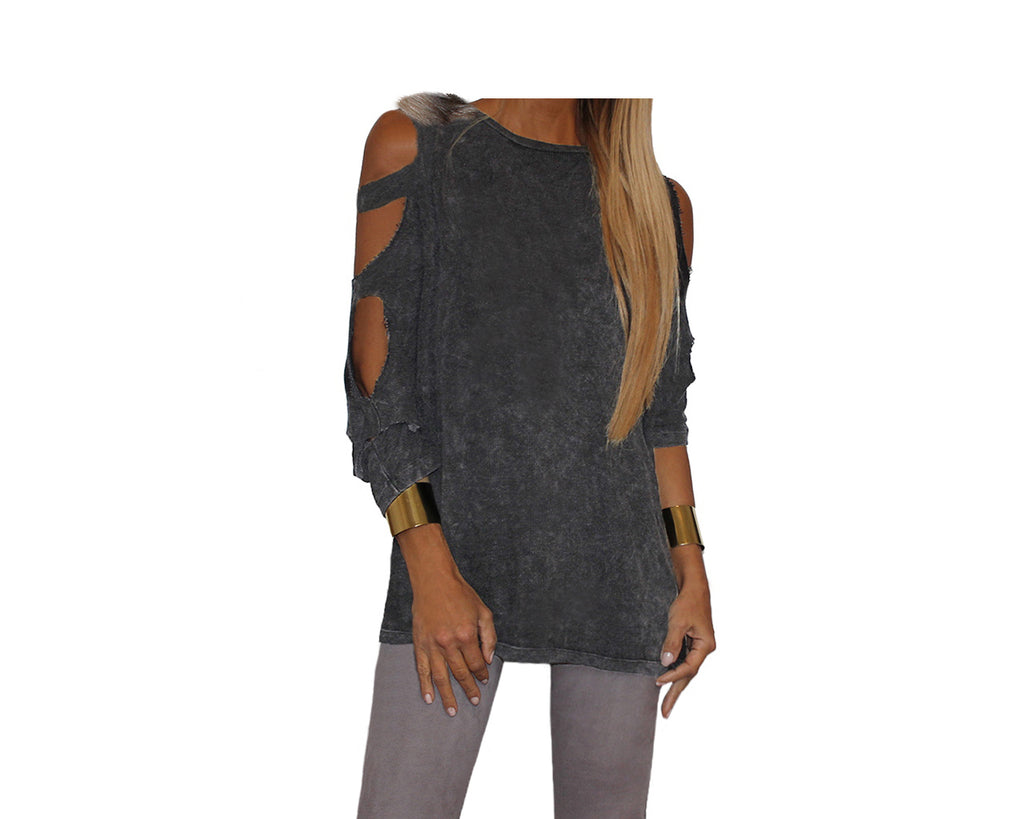 Gray Long Sleeve Open Shoulder/Open Arms Top - The Aspen