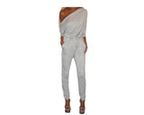 Pale Gray Off Shoulder Zipper Jumpsuit - The Fifth Avenue