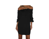 Black Gold Strap Off Shoulder Dress - The Ibiza