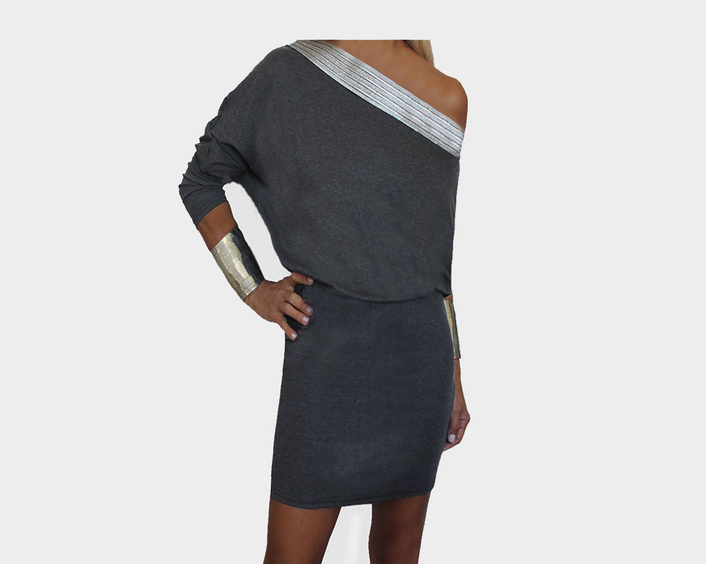Dark Gray Off Shoulder Dress - The Bond Street