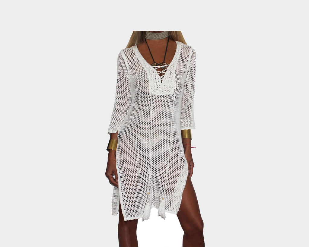 2. Off-White beach Cover-up Slit Tunic - The Marbella