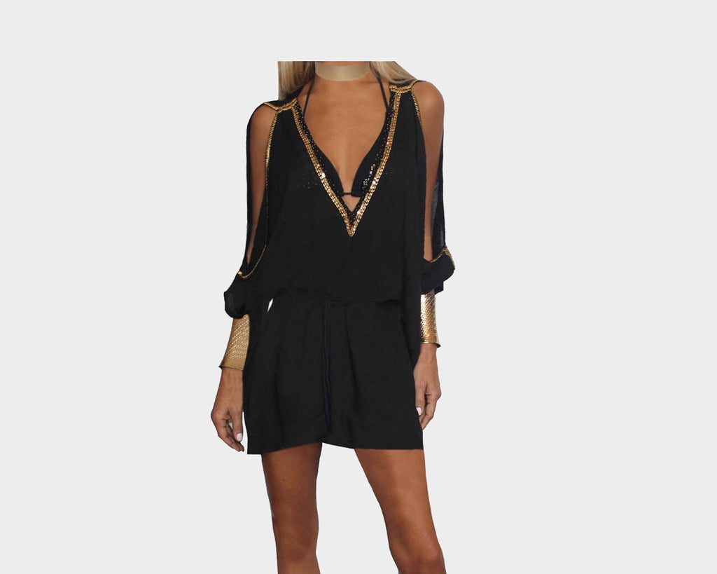 Black & Gold Beaded V-Neck Sun Goddess Dress - The Lake Como