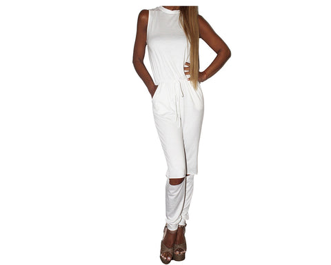 White knee cut-out Jumpsuit - The Milano