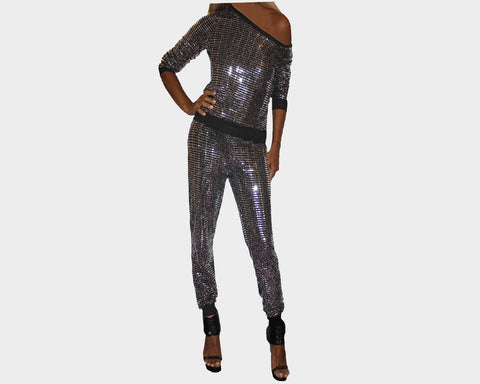 Metallic Silver Jog Suit - The Rodeo Drive