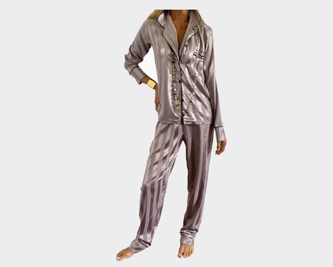 Deep Teal organic silk loungewear - The Palm Springs