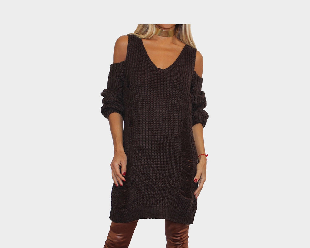 Dark Umber Open shoulder Dress  - The Madison Avenue