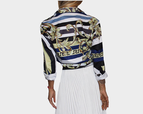 5. Golden Black White & Blue Long Sleeve Baroque Dress Shirt - The Monte Carlo