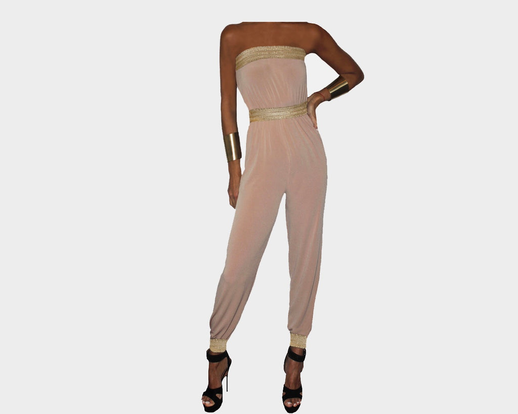 Taupe and gold strapless Jumpsuit - The Corso Venezia